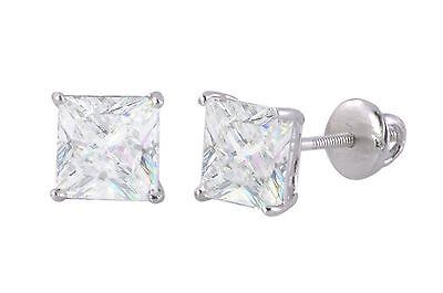 Clear Square CZ BASKET Set SCREWBACK Stud Earrings Sterling Silver (Basket Set Earring)