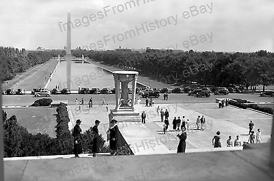 20x30 Poster Lincoln Memorial Washington Monument Blimp in View 1930's #1104