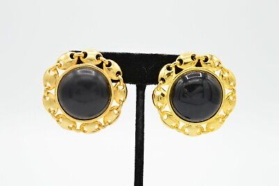Paolo Gucci Signed Statement Earrings Clip On Black Pearl Gold Chic Vintage 80s