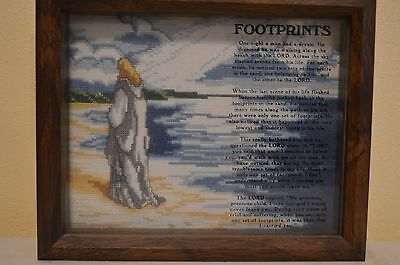 Shadow Box Footprints in the Sand Wall Hanging Cross Stitch Look ()