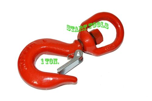 "1 Ton Drop Forged Carbon Steel Swivel Eye Hook 3/8"" Shackle w/ Latch G70"