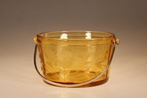 Vintage Deco Duncan Miller Glass Amber Ice Bucket Cornflower Cut c.1935