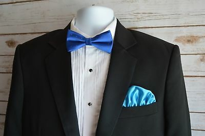 Mens Silk Pocket Square 100% Italian Silk Puff Brand New Free Shipping Turquoise