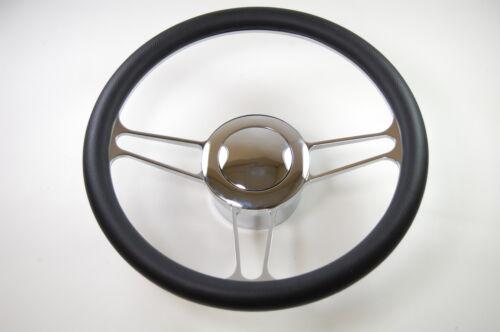 14-Chrome-Aluminum-steering-wheel-VINTAGE-GM-chevy-custom-half-wrap-inch