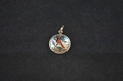 Sterling Silver Native American Design - Native American Sterling Silver Round Pendant w Multi Color Bird Inlay Design 1g