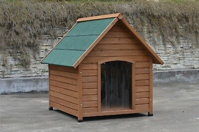 ✔ Deluxe Small Wooden Dog Kennel House Garden Home Timber  76 x 72 x 73cm Puppy✔