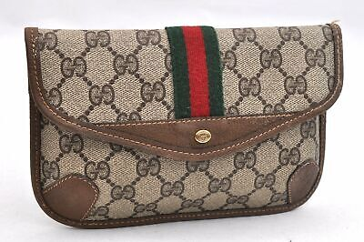 Authentic GUCCI Web Sherry Line Pouch GG PVC Leather Brown 95712