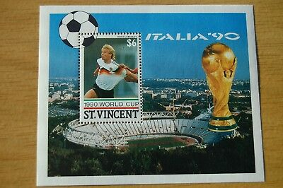 Jurgen Klinnsman West Germany Football World Cup St Vincent 1990 Stamp Sheet MNH