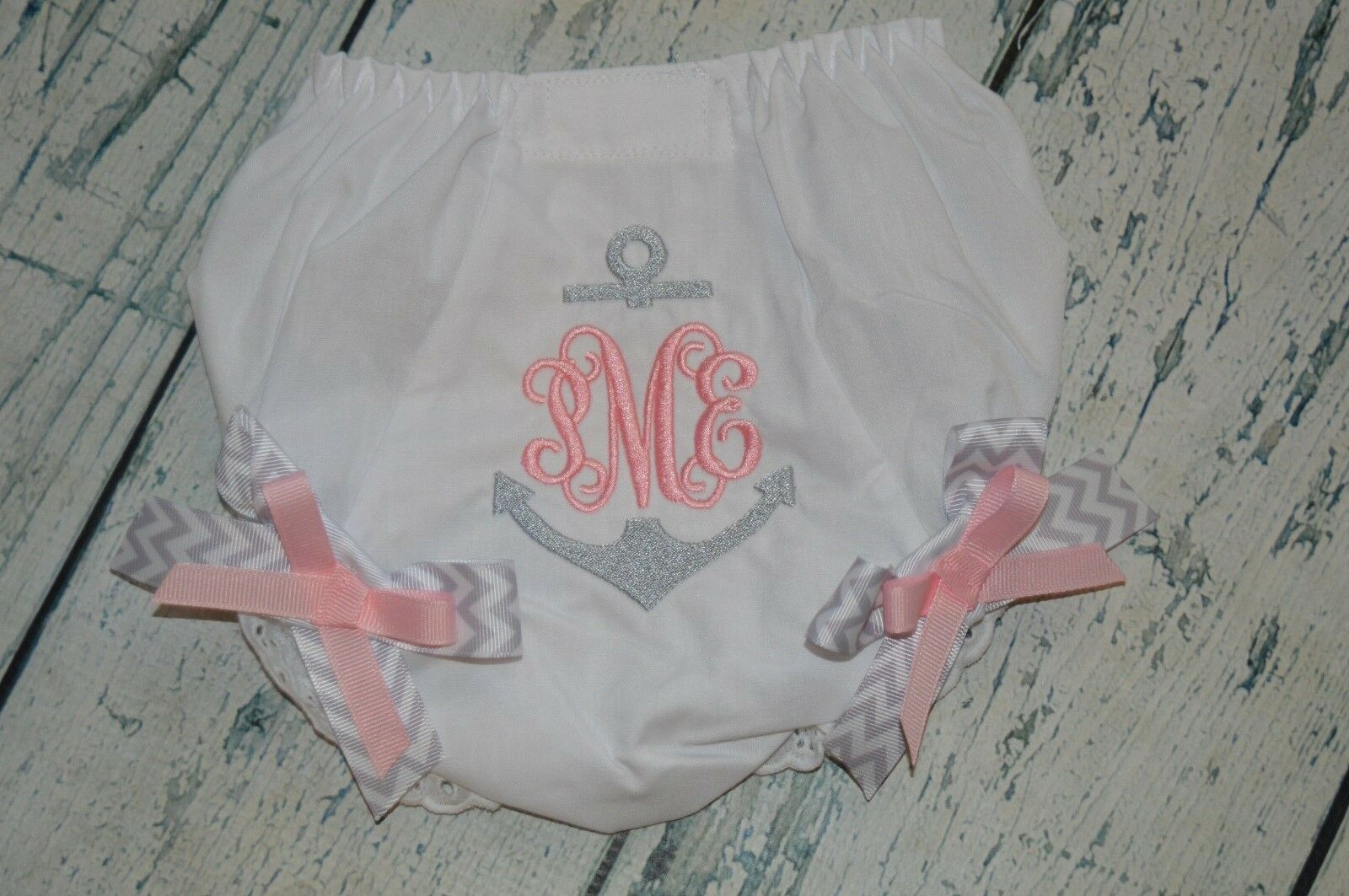 как выглядит Personalized Anchor Baby Bloomers Diaper Cover Girls Bloomer Silver Baby Pink фото