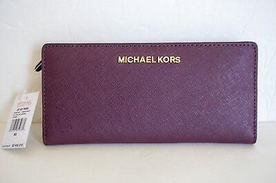 Michael Kors Jet Set Travel Large Card Case Carryall Leather Wallet Plum(Damson) (Plum Card)