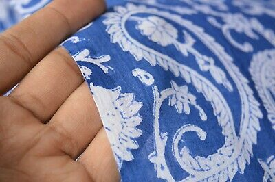 3 Yard Indian Hand Block Print Fabric 100% Cotton Crafting Paisley Blue Fabric