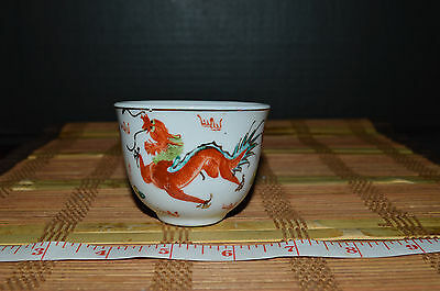 """Porcelain Chinese Tea Cup With Red Dragons China 2 1/8""""x2 3/4"""""""