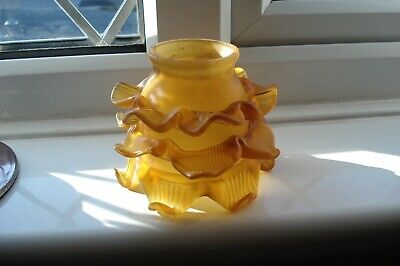 ART DECO FLOWER/PETAL AMBER FROSTED GLASS SHADE