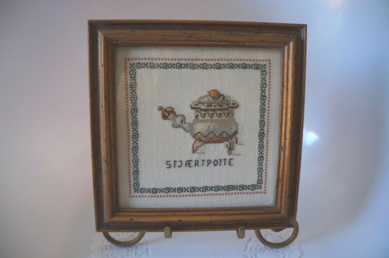 "VINTAGE NORWEGIAN? FRAMED SAMPLER READS"" STJAERTPOTTE"""