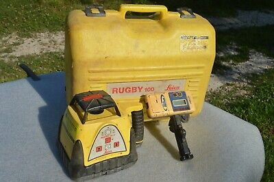 Leica Rugby 100 Lr Self-leveling Construction Rotating Laser W Spectra Hr320 Re