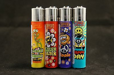 4 pcs New Refillable Clipper Lighters Hippi Design
