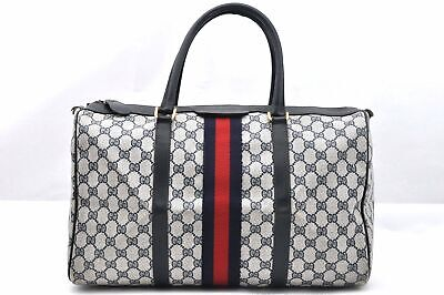 Authentic GUCCI Sherry Line Hand Bag GG PVC Leather Navy 96409