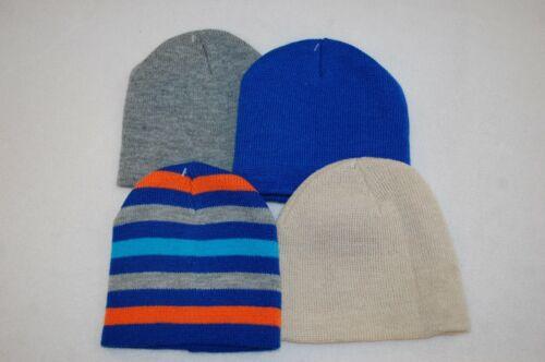 Baby Toddler Boys 4 LOT WINTER HAT Knit Beanie BLUE Orange Stripe GRAY Beige