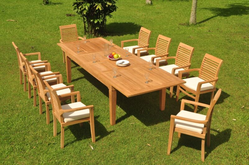 "11-pc Outdoor Teak Dining Set: 122"" Rectangle Table, 10 Stacking Arm Chairs Masc"