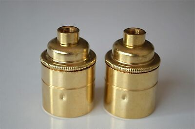 A pair of British made brass Edison ES E27 light bulb holder with 10mm entry E1