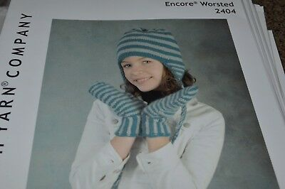 - Plymouth Knitting Pattern 2404 Encore Worsted Kids Earflap Hat &  Mittens