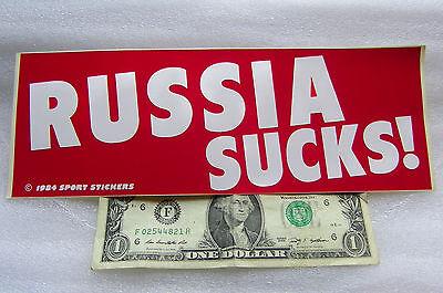 "Vintage 1984 Bumper Sticker RUSSIA SUCKS ! White & Red 3"" x 9"" FREE SHIPPING"