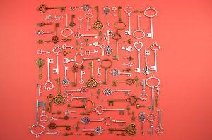 100 OLD Look Antique Skeleton Vintage keys Replicas Assorted Styles jewelry vtg