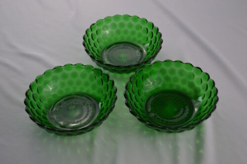 """3 Anchor Hocking Bubble Forest Green Cereal Bowls 5 3/8"""" Top Diameter"""