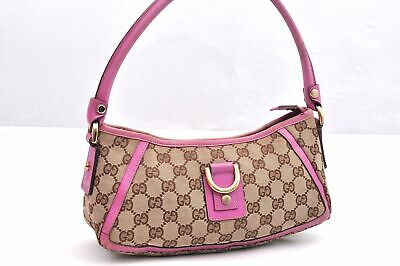 Authentic GUCCI Hand Bag GG Canvas Leather Brown Pink 96332