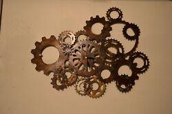 Clock Steampunk Industrial Handmade Welded metal bicycle gear