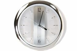 Chrome Wall Clock 11 inch Round Quartz Clock Silver Modern Home Garage Office