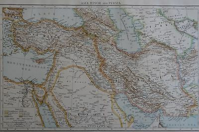 Victorian Map 1896 of ASIA MINOR & PERSIA The Times Atlas 1st Gen