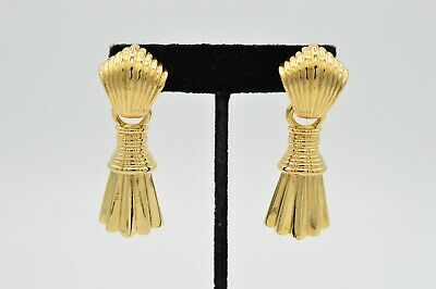 Givenchy Signed Vintage Earrings Statement Clip Gold Hollywood Runway 80s BinU