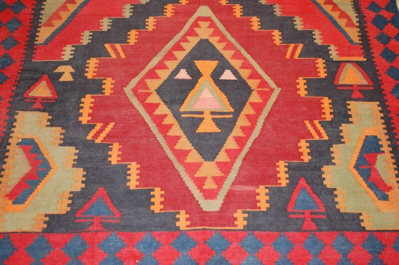 CIRCA 1930s FINE ANTIQUE CAUCASIAN KILIM 4.7x14 HIGHLY DETAILED_FINELY WOVEN