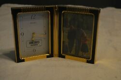 Seiko Desk Clock with Picture Frame Gold and Black QQZ299KH