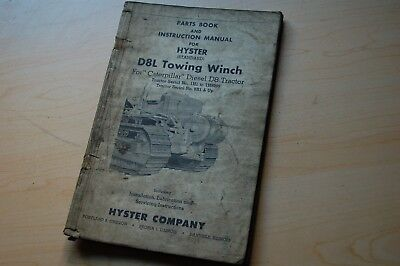 Cat D8l Caterpillar Tractor Hyster Towing Winch Owner Operator Parts Manual Book