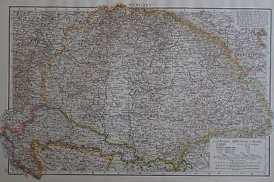 Victorian Map 1896 of HUNGARY The Times Atlas 1st Gen