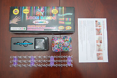 DIY LOOM KIT KIDS CRAFT TOOL 24 S CLIPS AND 600 RAINBOW COLOR BANDS-USA SELLER!!