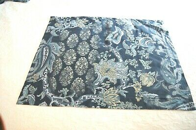 Pottery Barn Navy, Blue, Tan Jacobean Floral Standard Pillow Shams--2