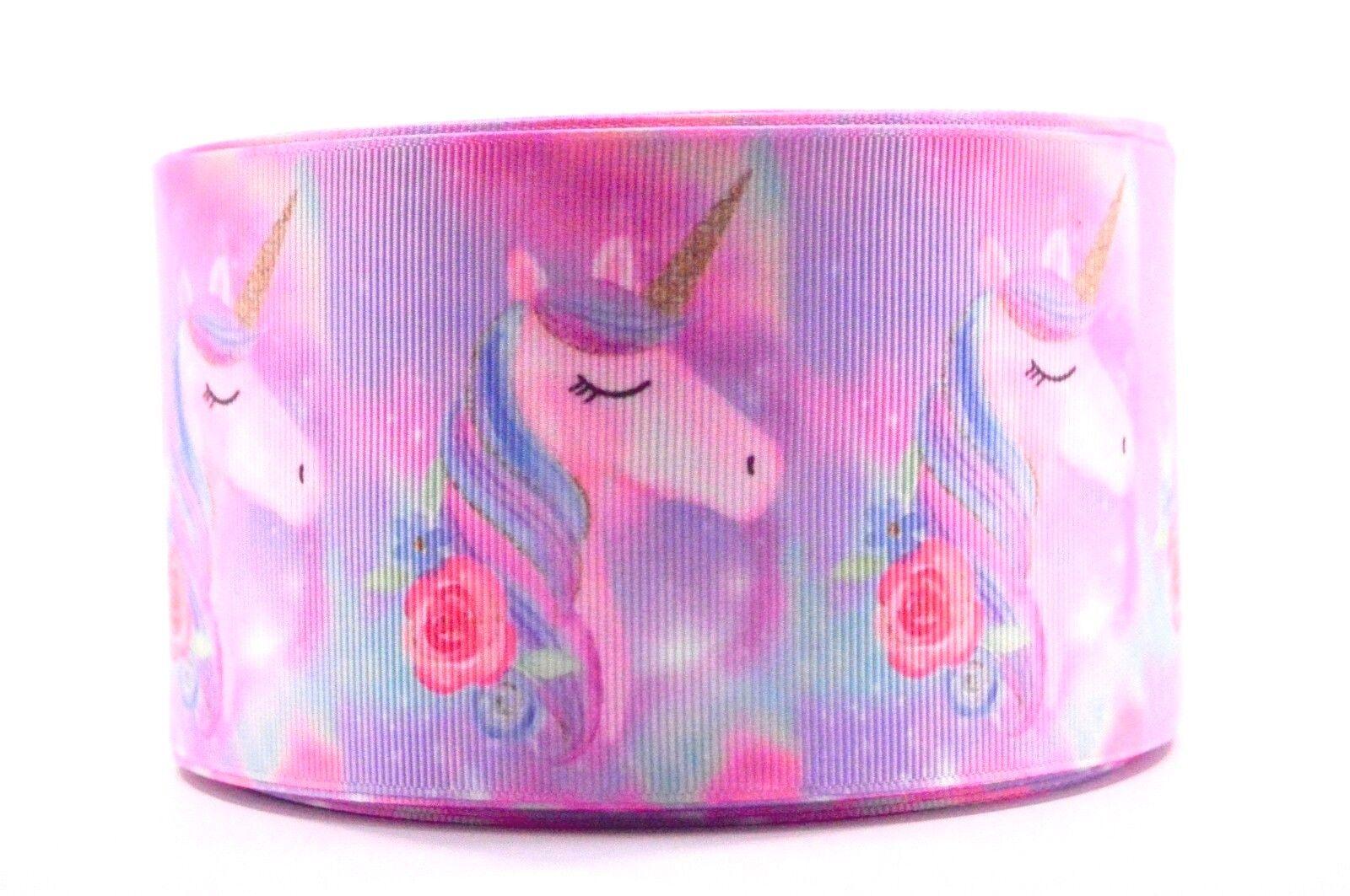 grosgrain watercolor unicorn rose 3 inch printed