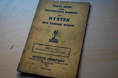 Cat D9a Caterpillar Tractor Hyster Towing Winch Owner Operator Parts Manual Book