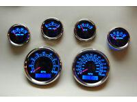 Speedo Black//Chrome Oil,Temp,Fuel,Volt Blue LED IIL 6 Gauge Set 043-BC Tacho