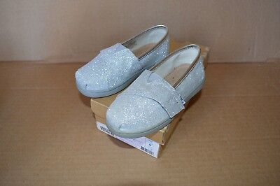 (New/Defects Toms Tiny Classic Silver Glimmer Girls Toddler Flats)