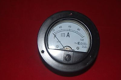 Ac 0-100ma Round Analog Ammeter Panel Amp Current Meter Dia. 90mm Direct Connect