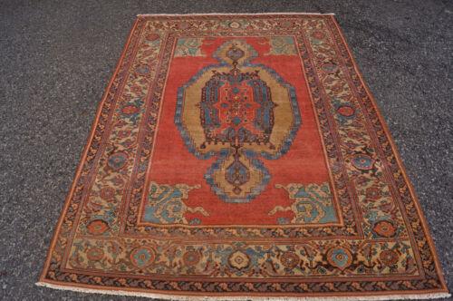 Antique  Beautiful Collectible Serapi  Bakshaish Rug 5x6 Ft Cr 1860