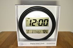 NIB Digital Wall or Tabletop Clock with Indoor Temperature, Black