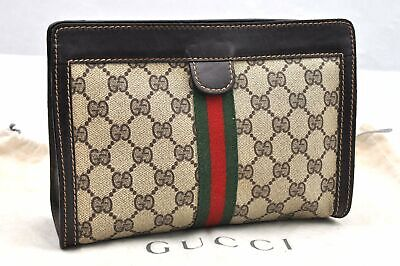 Authentic GUCCI Web Sherry Line Clutch Bag GG PVC Leather Brown 96386