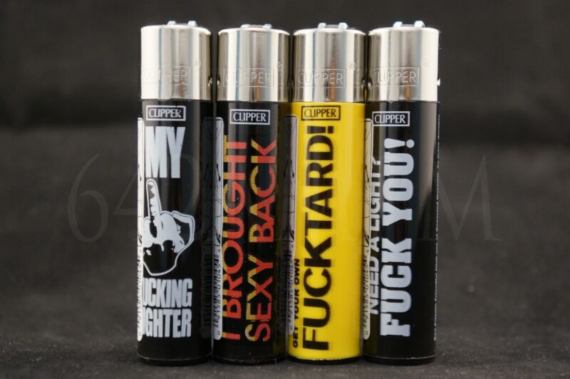 4 pcs New Refillable Clipper Full Size Lighters Funny Saying