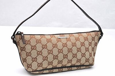 Authentic GUCCI Hand Bag GG Canvas Leather Brown 96344