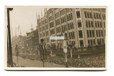 Oxford Street, crowd, D H Evans department store - old London postcard